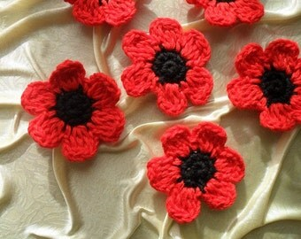 6 pcs of Crochet  Red Flower Appliques, Red and Black Crochet Flowers