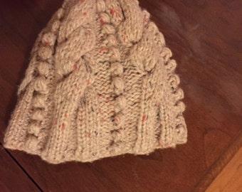 Cashmere Handknit Cable Hat