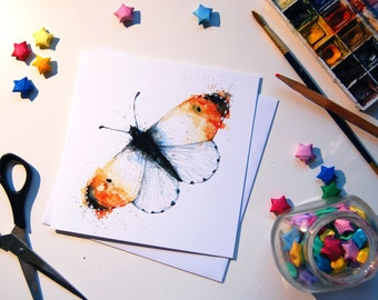 Orange Tip Butterfly Illustrated Greetings Card - Hand Drawn Watercolour Print