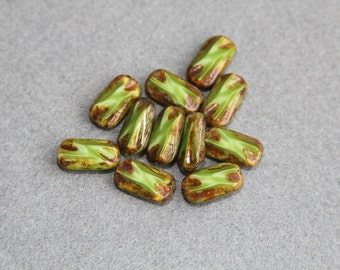 16x8mm Flat Rectangle Bead, Authentic Picasso Finish Czech Table Cut Opaque Brown Spring Green Glass Beads, Jewelry Making, Craft Supplies