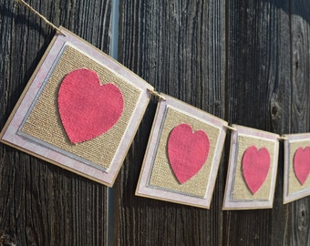 Pink and Red Burlap Fabric Hearts Valentines Day Banner Home Decor Photo Shoot Prop