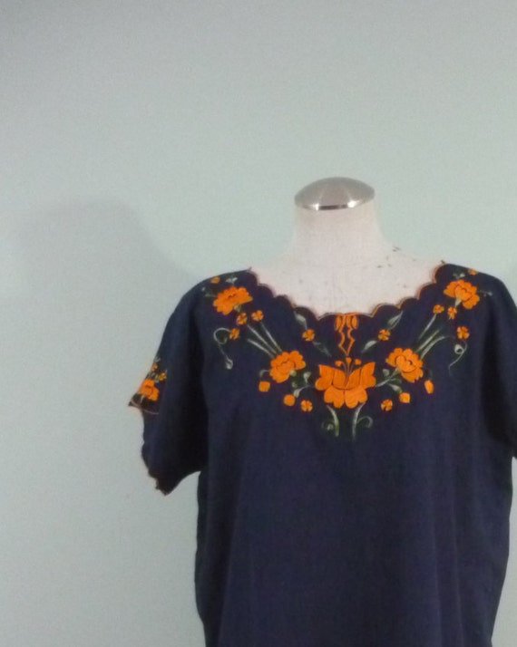 1960s Mexican Blouse / Navy Blue Top, Embroidered Orange Flowers / Boho Pullover / Modern Size Medium M to Large L