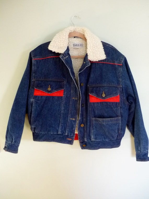 Winter Jean Jacket / 1980s Faux Shearling Lined Denim Coat / Stone Wash / Oversize / Plus Size / Fits Small Medium Large XL