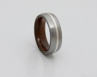 Titanium wood wedding band // Men's wedding ring // Her Wedding Ring // koa wood ring // silver lined