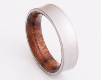 Titanium and iron wood // Mens Wood Rings //wood Wedding Band //Men's wedding Band // curved