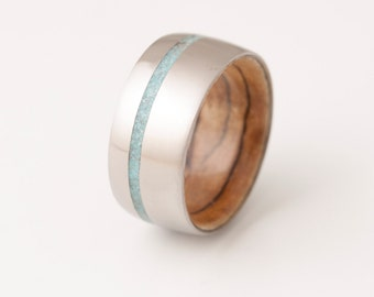 Turquoise Ring / titanium and Spalted Maple wood Ring // wide band wood ring // mens wood ring // wood wedding band // mens wedding ring //