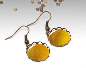 Yellow earrings, Dainty dangle earrings, Bridesmaid gift, Cabochon earrings, Antique bronze or silver earrings, Boho jewelry, 5092-5