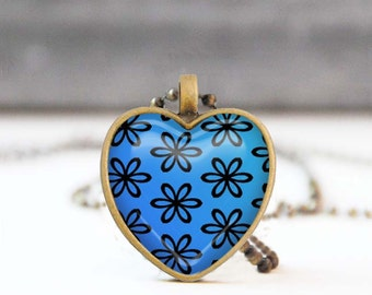 Blue heart necklace, Floral heart shaped Photo necklace, Bridesmaid gift, Love gift for her, 5011-4