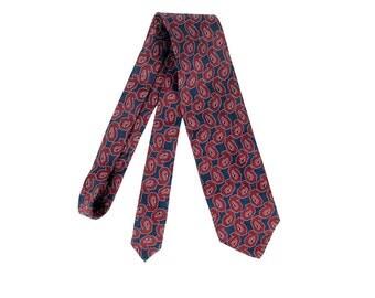 Vintage 80s Tie - Giorgio Armani - Vintage Armani Tie - 80s Giorgio Armani - Red Blue - Abstract Paisley - Silk Paisley Tie - Armani Tie