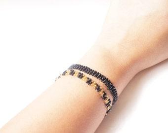 BLACK I GOLD Glass Beaded Bracelet, Summer Favorite