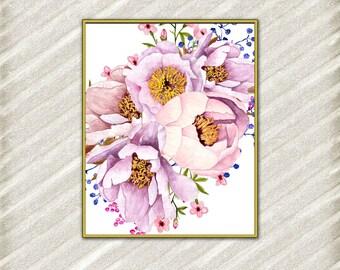 """Flowers digital prints: """"FLORAL DIGITAL PRINT"""" Printable Art Floral art print Watercolor Flower Peonies art print Pink flower Wall Decor"""