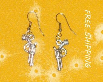 dangle earrings, metal revolvers dangle earrings