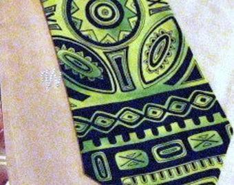 Yellow-Green-Black Silk Tie