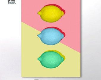 Lemon Print, Food Art Print, Instant Download, Lemon Wall Art, Lemon Printable, Kitchen Printable Decor, Pastel Wall Art, Pink and Yellow