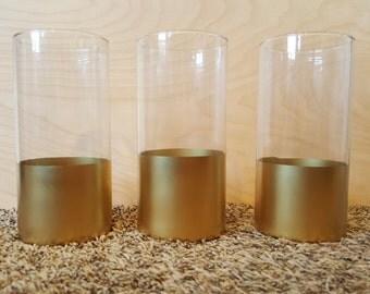 Metallic Gold Dipped Glass Vase