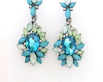 VanGarden GISELLE Crystal Drop Earrings in Blue