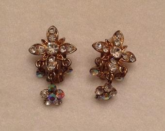 Vintage Rhinestone Earrings Rhinestone Drop Earrings