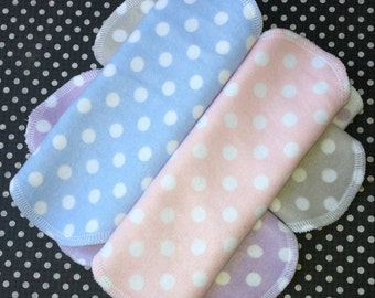 Choose Your Combo, 3 Styles, Bamboo and Cotton Blend, Flannel, Polka Dots, Reusable Pantyliner