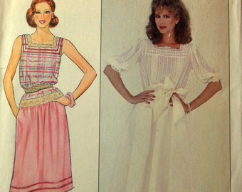 Uncut 1980s Butterick Vintage Sewing Pattern 4378, Size 8; Misses' Top and Skirt