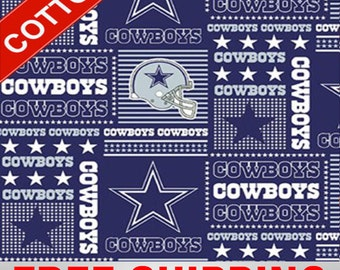 """Dallas Cowboys Cotton Fabric NFL Style DAL-6424 60"""" Wide. Free Shipping"""