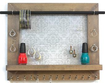 Jewelry Organizer -  Light Gray Damask Necklace Rack - Jewelry Storage