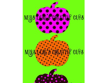Pumpkin polka dot 3  Fall Halloween SVG Cut file  Cricut explore file t shirt