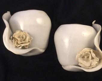 Wall pocket / sconce flower vases -1 pair white stoneware