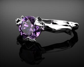 Amethyst Leaf Engagement Ring Branch Engagement Ring White Gold Ring Gemstone Engagement Ring Amethyst Engagement Ring February Birthstone