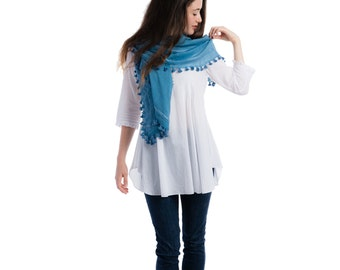 Handmade silk & cotton pom pom blue scarf