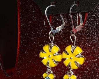 Yellow Enamel / Flower / Dangle / Earrings