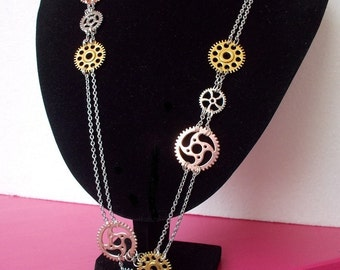 Long Steampunk Necklace with copper golden and silver gears surgical steel chain