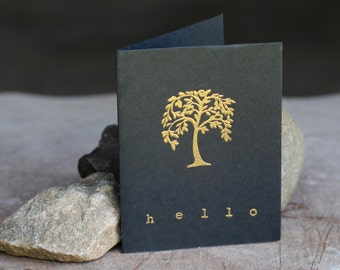Embossed Hello Greeting Card, Blank Inside, For Her, For Him, Gold and Black, Heat Embossed