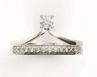 Diamond wedding set, 14K white gold diamond engagement ring,Anniversary ring, diamond ring,Chevron ring,V ring DC-1013-2