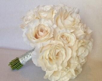 White Rose Wedding Bouquet, Bridal Bouquet