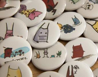 Mystery Set of 5 Pinback  Buttons - Kawaii Critters - Cute Little Creatures