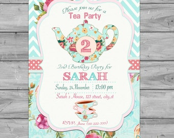 Tea party invitation, tea for two invitation, tea for 2 invitation, 2nd birthday invitation, Tea party birthday invitation, floral tea party
