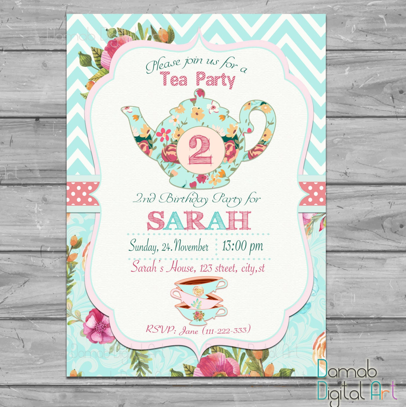 Tea party invitation tea for two invitation tea for 2