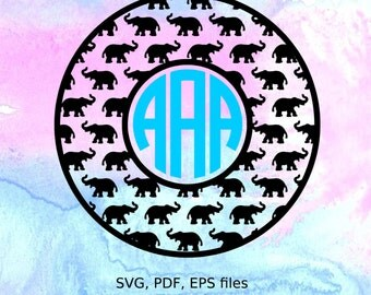 Elephant Monogram Frame svg, pdf, eps files for cutting in silhouette, cricut, circle monogram svg, elephant monogram svg, Alabama svg