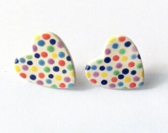Dotty Heart Earrings, Dotty Stud Earrings, Colourful Earrings, Dotty Jewellery, Handmade Jewellery, polka dot.