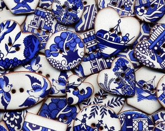 8 Willow Pattern Buttons, Ceramic Buttons, Blue and White Buttons. Handmade Ceramic Buttons, Willow Pattern.