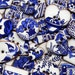 8 Willow Pattern Buttons, Ceramic Buttons, Blue and White Buttons. Handmade Ceramic Buttons.
