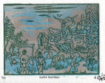 SWITCH POSITIONS Original Woodblock Print