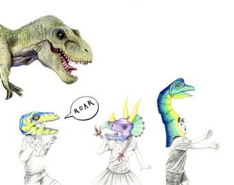 Dinosaur Games, Dinosaur Art Print, kids Wall Art, A4, Dinosaur Illustration, Kid's Room Art, Art Print, Giclee Print