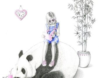 Panda Love, Panda Art, Panda Print, A4 Print, Giclée Print, Kids Wall Art, Kids Room Decor, Girls Room Art, Nursery Art, Personalised Print
