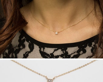 Pave Diamond Square Necklace, 14k Gold Filled Chain, Dainty Gold Square Necklace, minimal Delicate Necklace with CZ stones