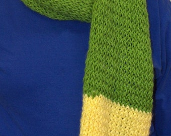 Green, yellow and white knit scarf