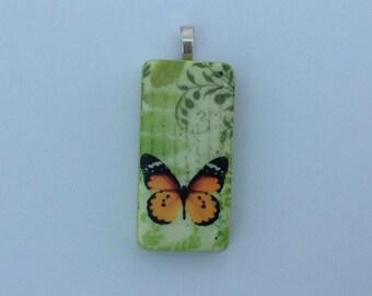 Pendant,Upcycled,repurposed,domino pendant,upcycled domino pendant,Upcycled pendant, repurposed pendant, domino art,butterfly