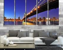 New York Cityscape From Under the Bridge Canvas Art Print, New York Photo Canvas Art No:149