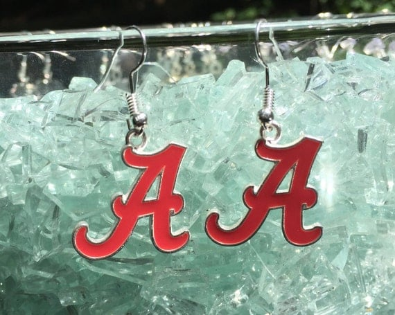 Alabama Crimson Tide Antique Silver Enameled Earrings