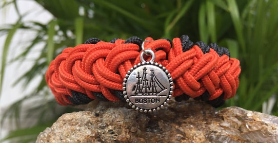 Boston Beach Nautical Paracord Bracelet, Boston charmed, a great weave, with a tall ship engraved charm